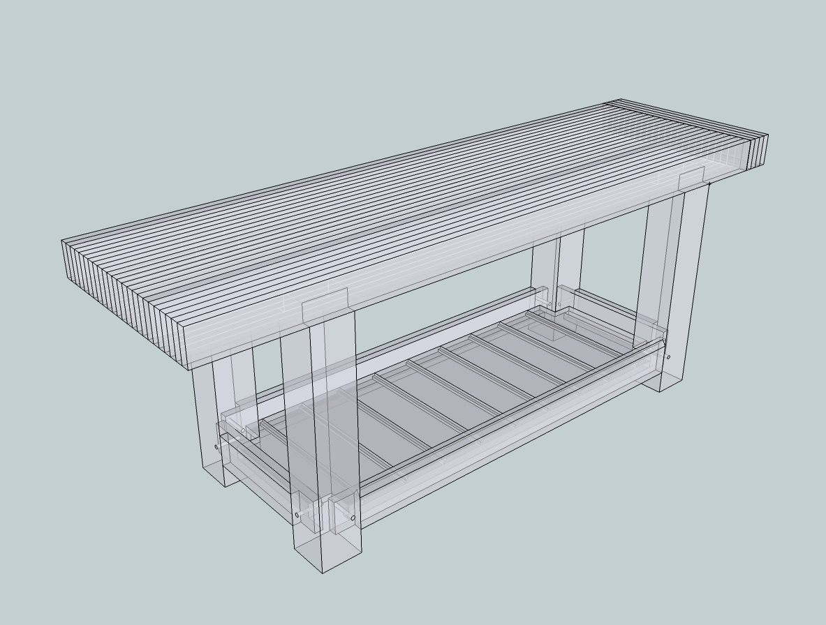 XRay render of Sketchup workbench design