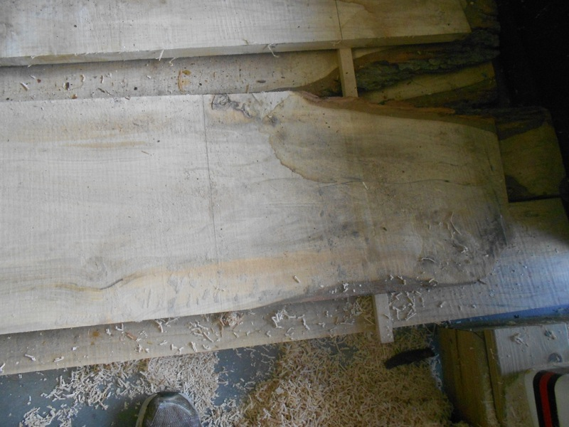 A typical example of the plotchy, streaky, grayed silver maple lumber.