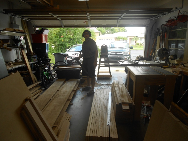 My cluttered cluttered garage shop as I begin work on the silver maple bench
