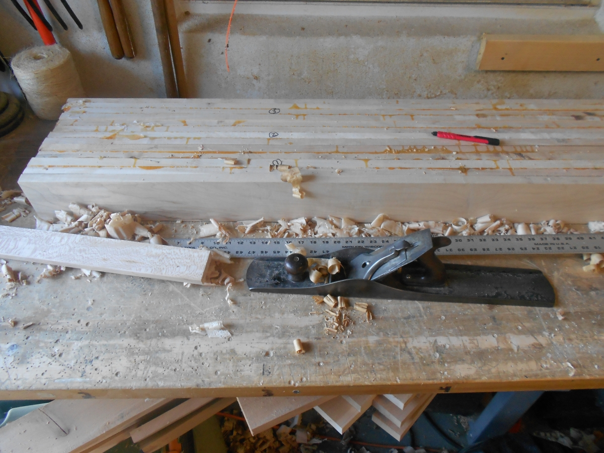 Groups of four were then glued into a benchtop half. Planing the two halves to match was a challenge