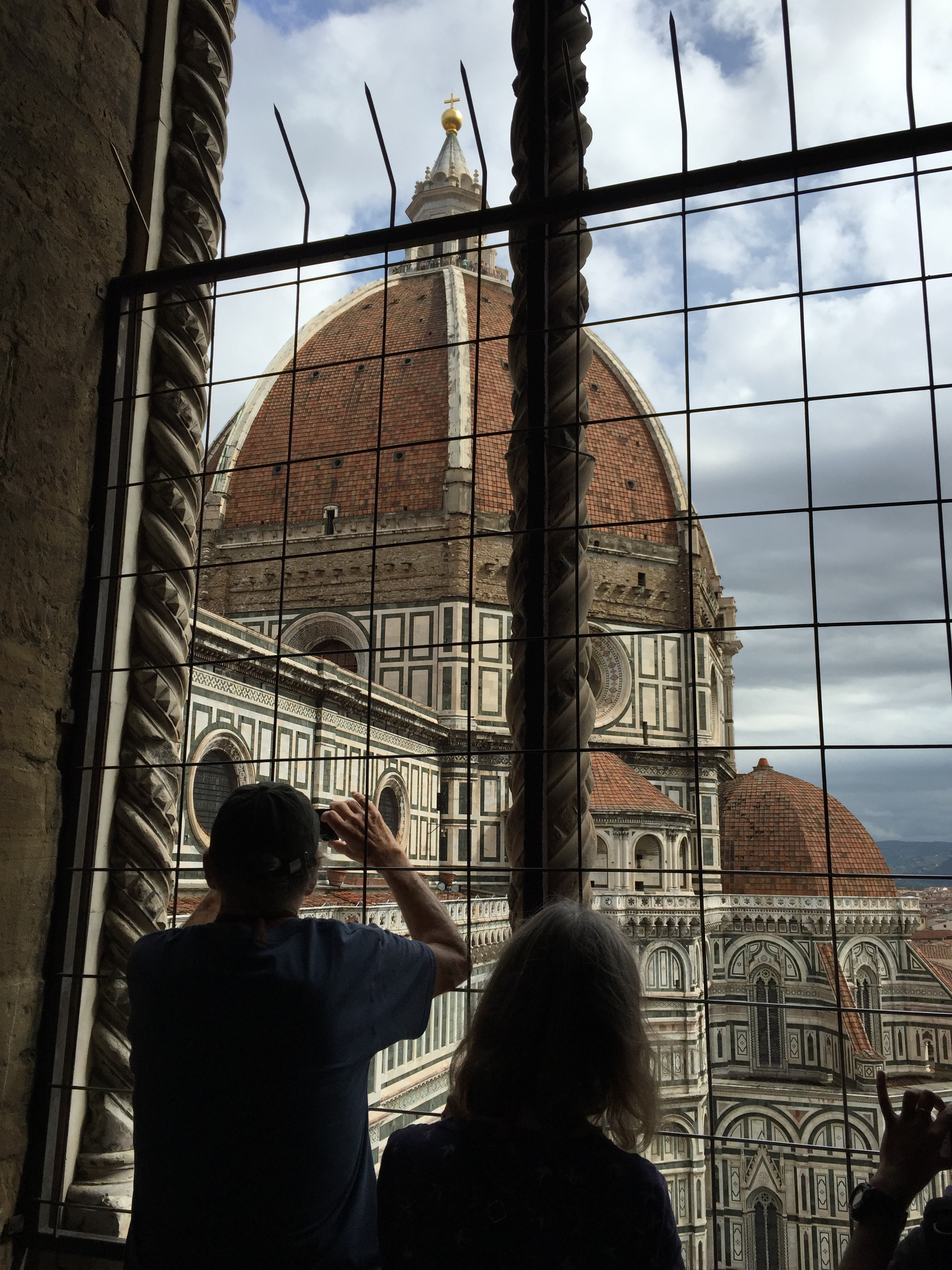 A view of the cathedral of Santa Maria del Fiore from halfway up Giotto's bell tower