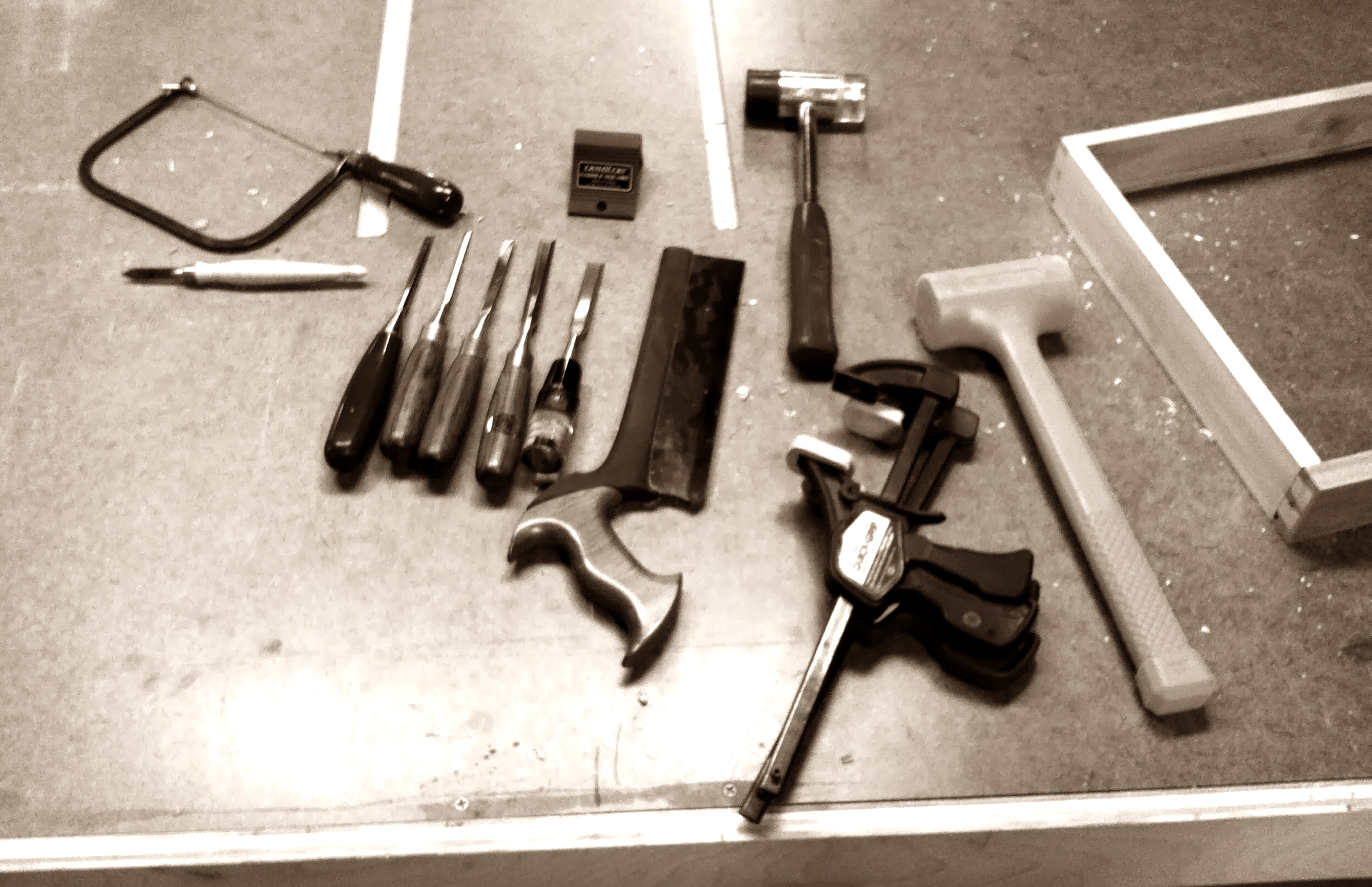 Tools laid out for dovetails