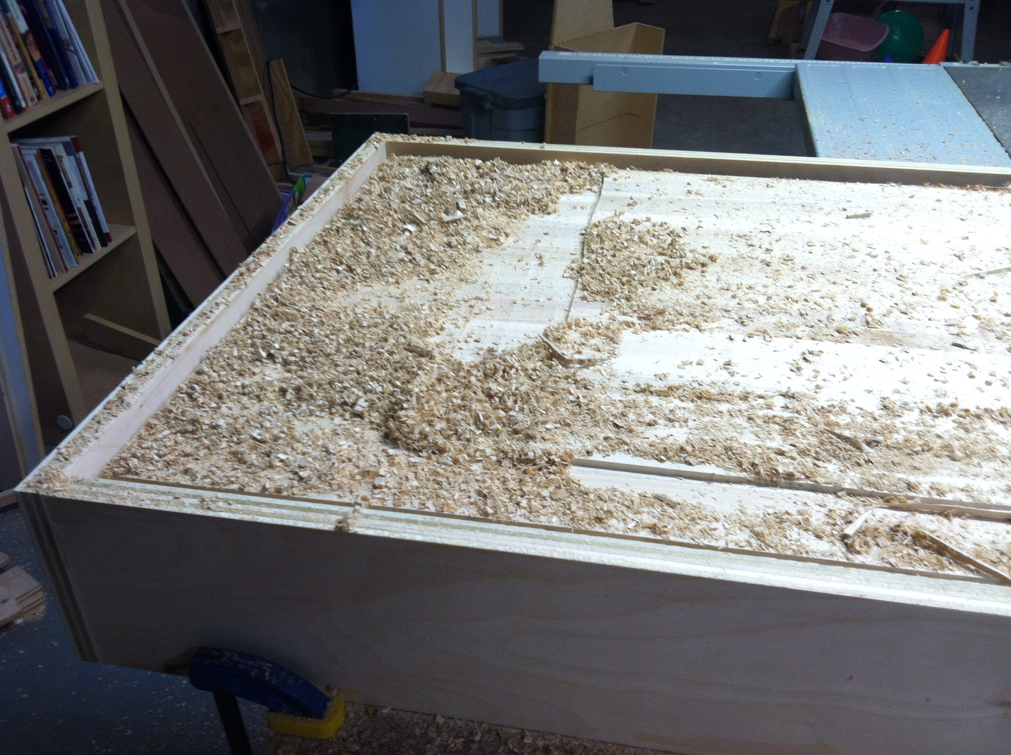 Nearing the finish of the flattening operation. This whole thing turned out much better than expected.
