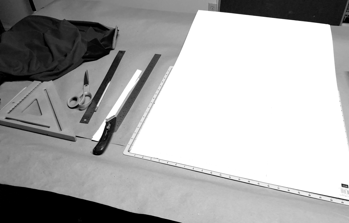 White poster board to function as the form
