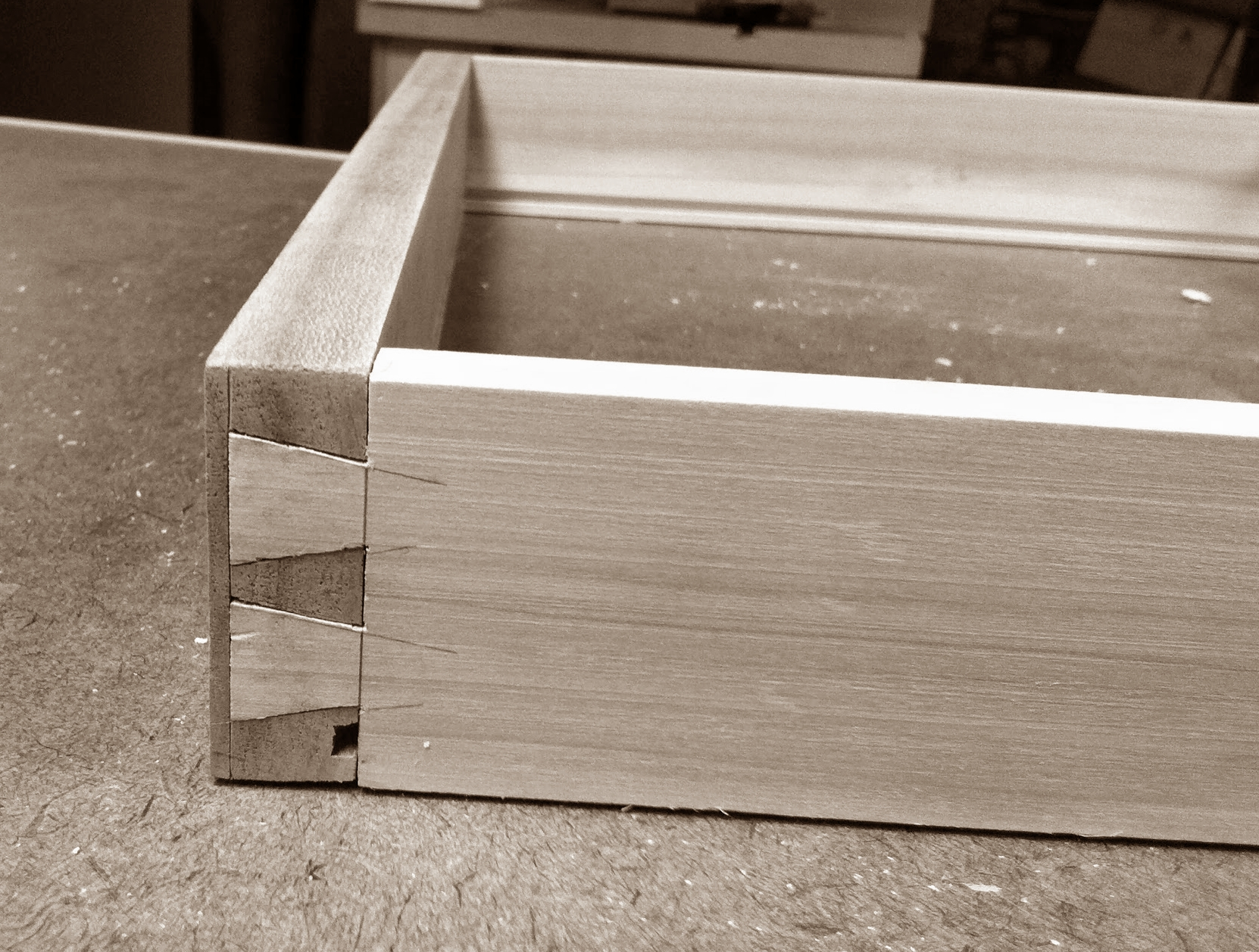 Front dovetails on drawer #2