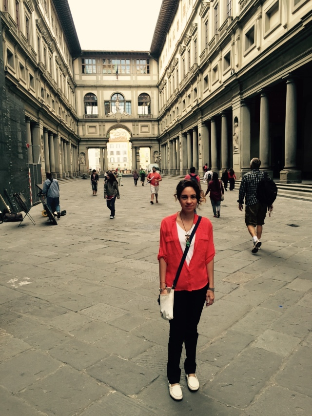 Adriana near the entrance to the Uffizi Museum