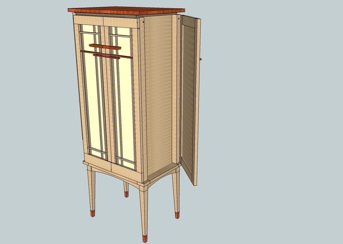 The design with side doors open, area for hanging necklaces and bracelets