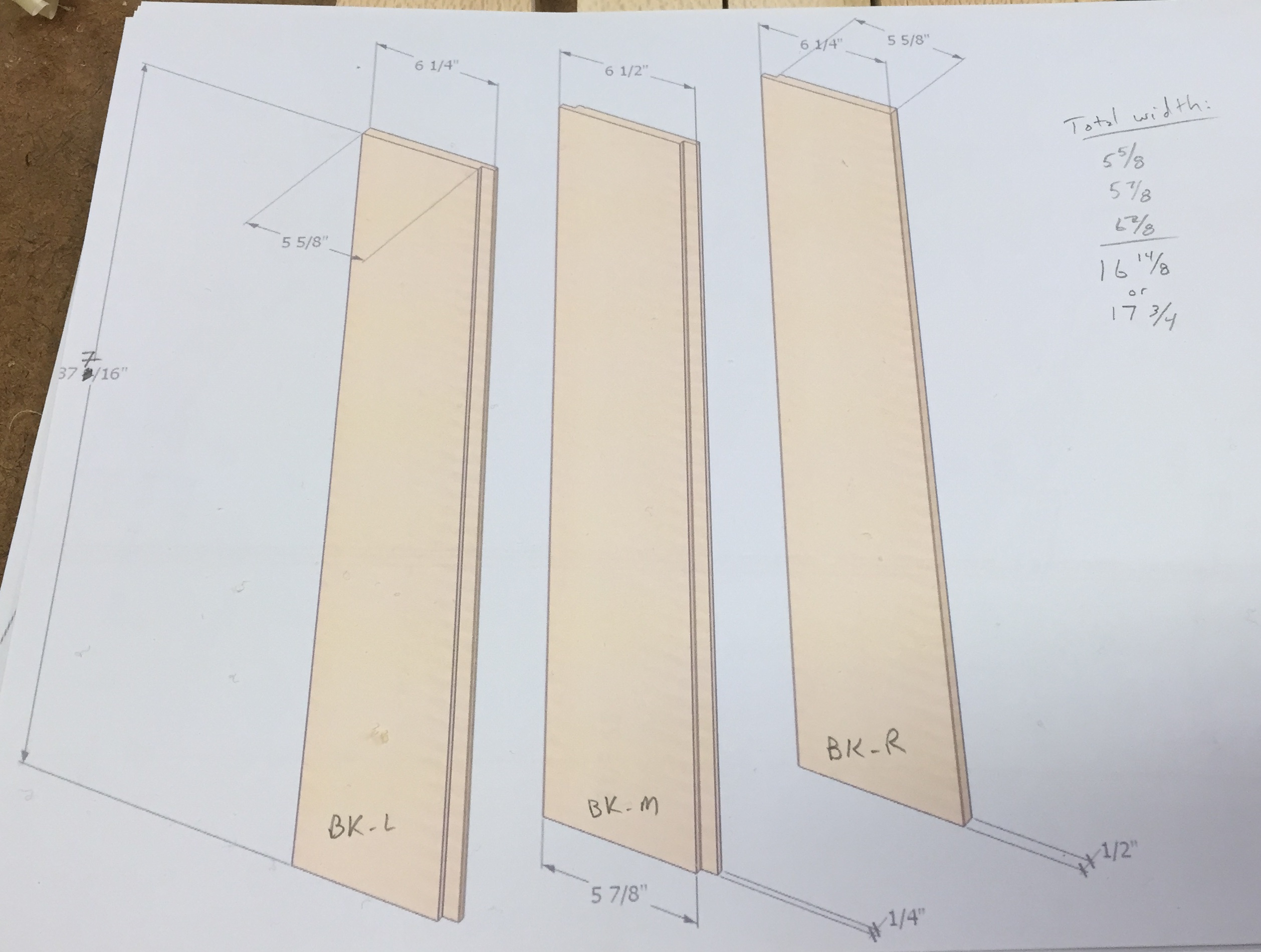 Measurements of back panel shiplapped planks, sized to fit the case