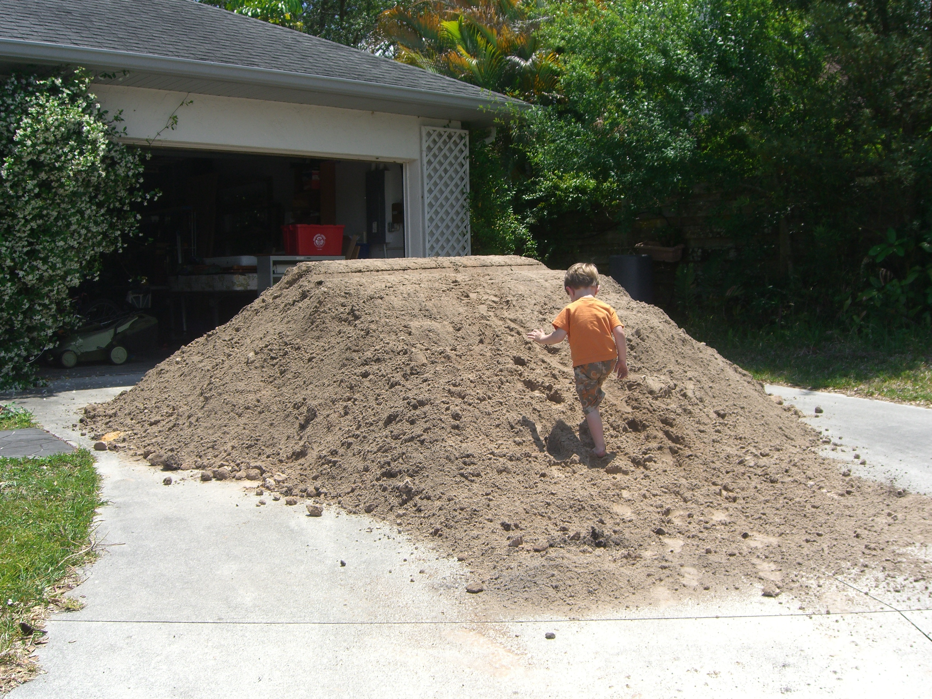 Ordered a truckload of fill. It had to be dumped on our driveway since the backyard is inaccessible. This turned out to be a wonderful playground for Liam and his cousins