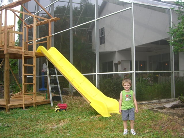 With temp fences up, I let Liam use the tower 1 ladder and slide