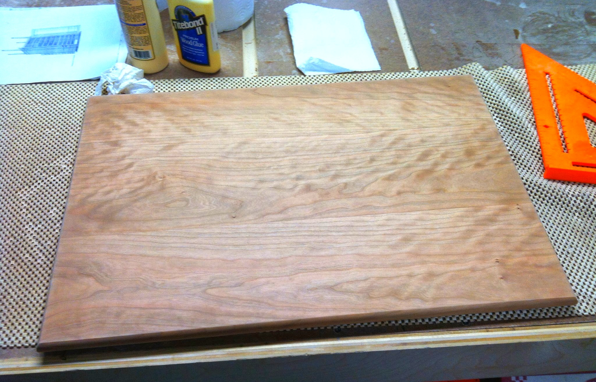 The curly cherry top of the cabinet is probably the best looking wood I've ever worked
