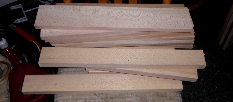 After a long delay, sycamore case parts cut and thicknessed