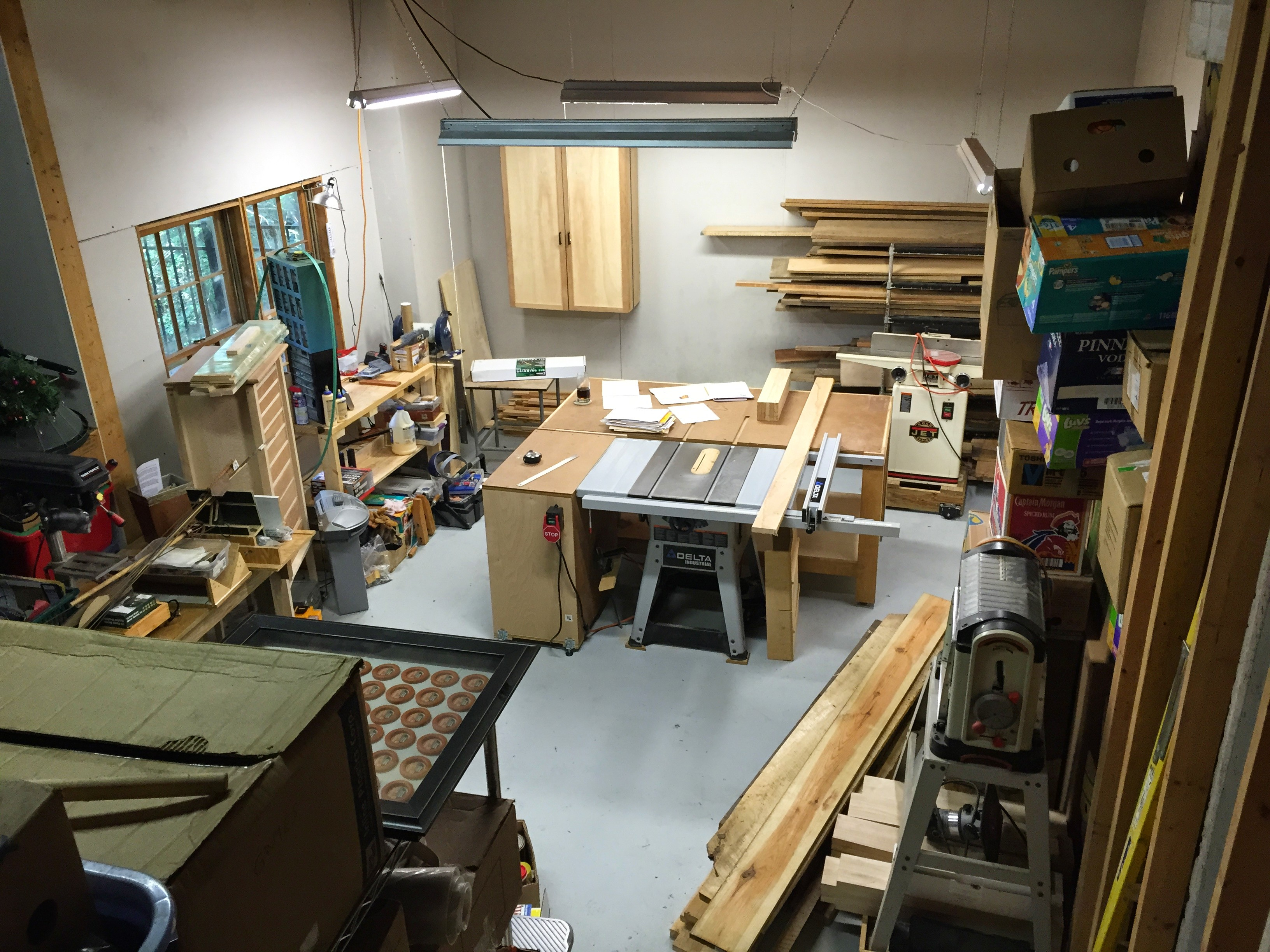 Woodshop from the stairs to the garage