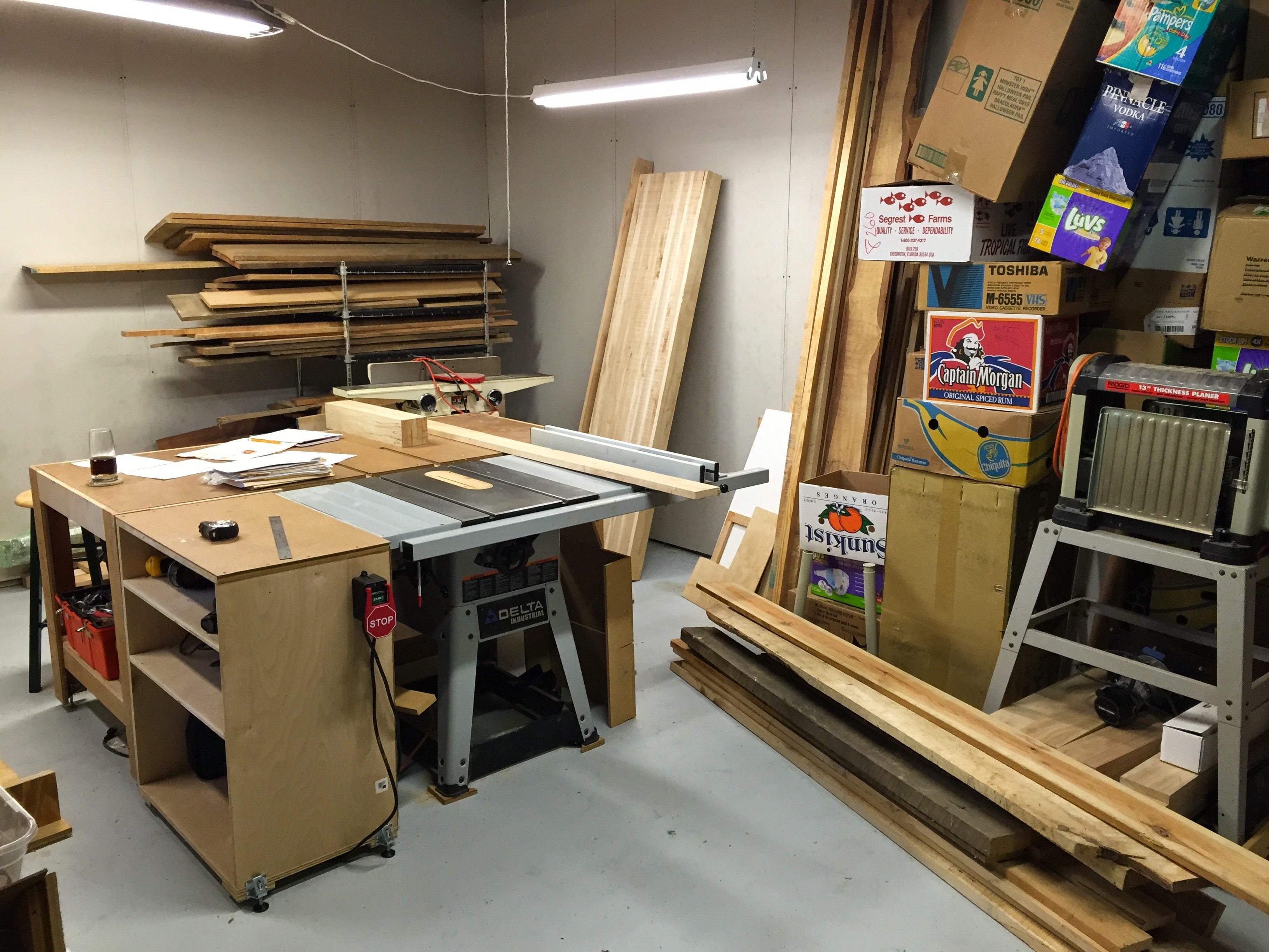 Table saw and tons of stored boxes for the next move