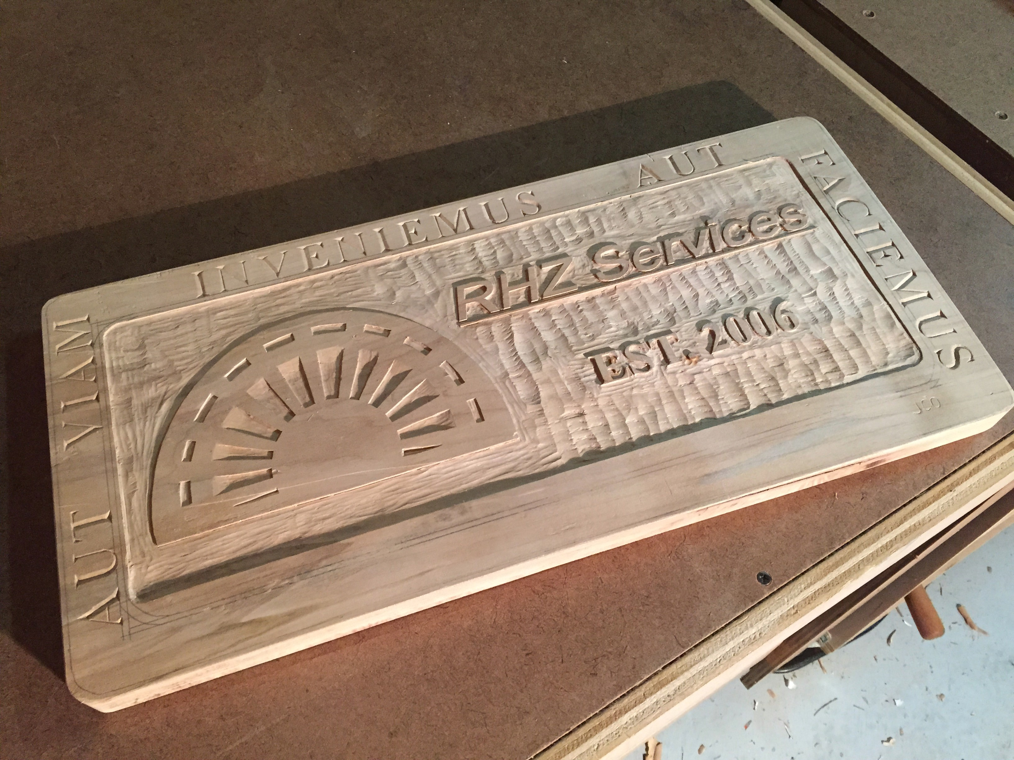 Completed RHZ Plaque in silver maple (soft maple), unfinished