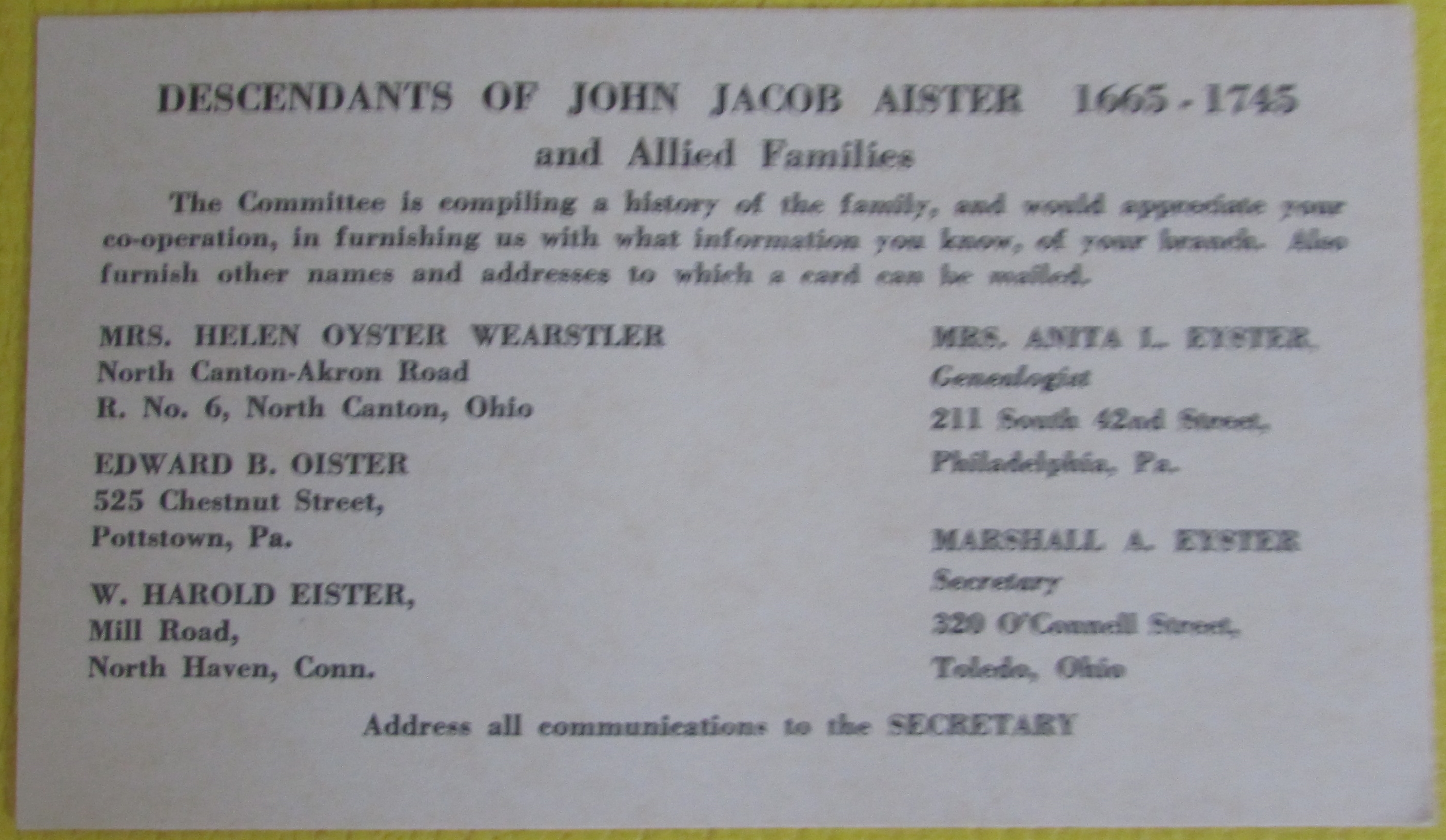 Card about John Jacob Aister