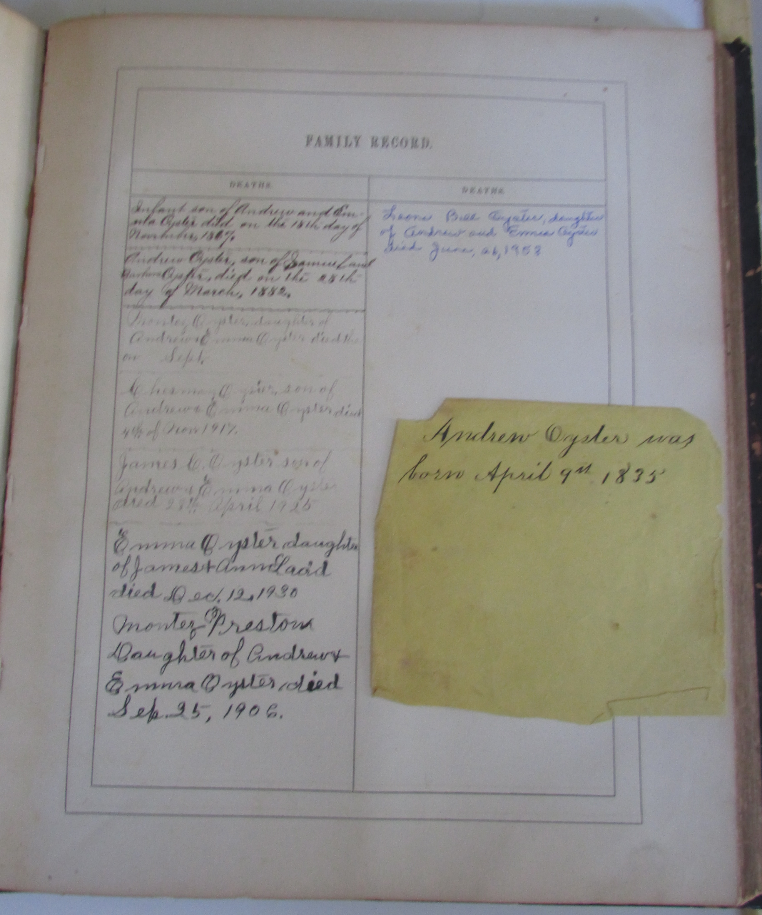 Third inscribed Family Record page with note