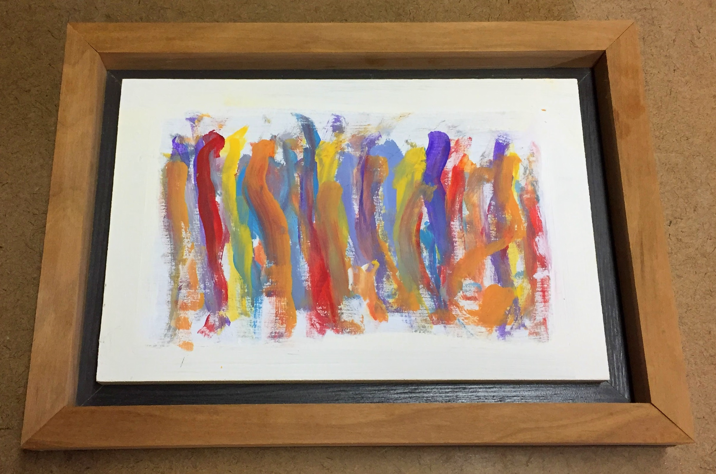 Finished framing of Liam's small abstract oil on wood