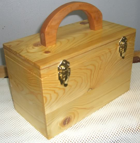 Liam's toy car box out of Ponderosa pine with a cherry handle