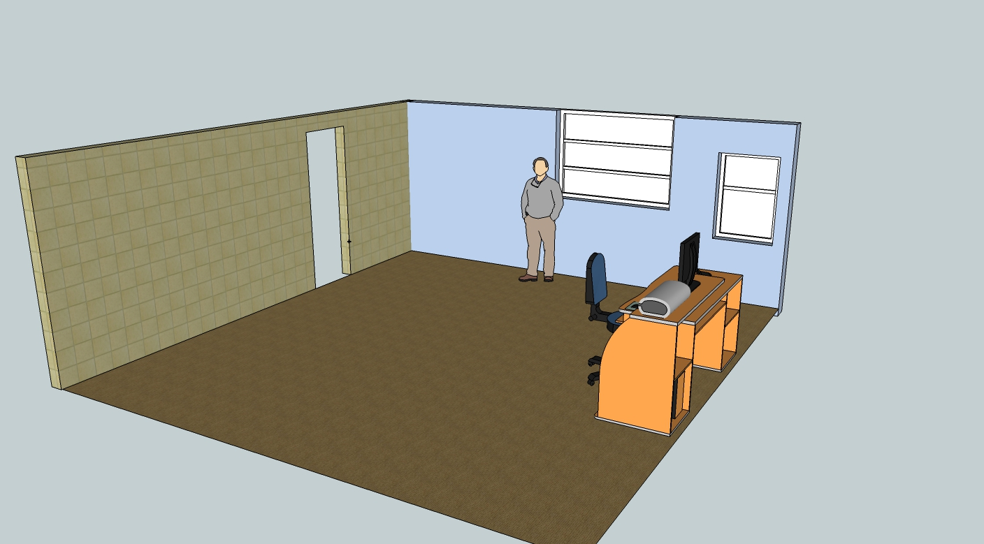 Sketchup of empty office corner for context
