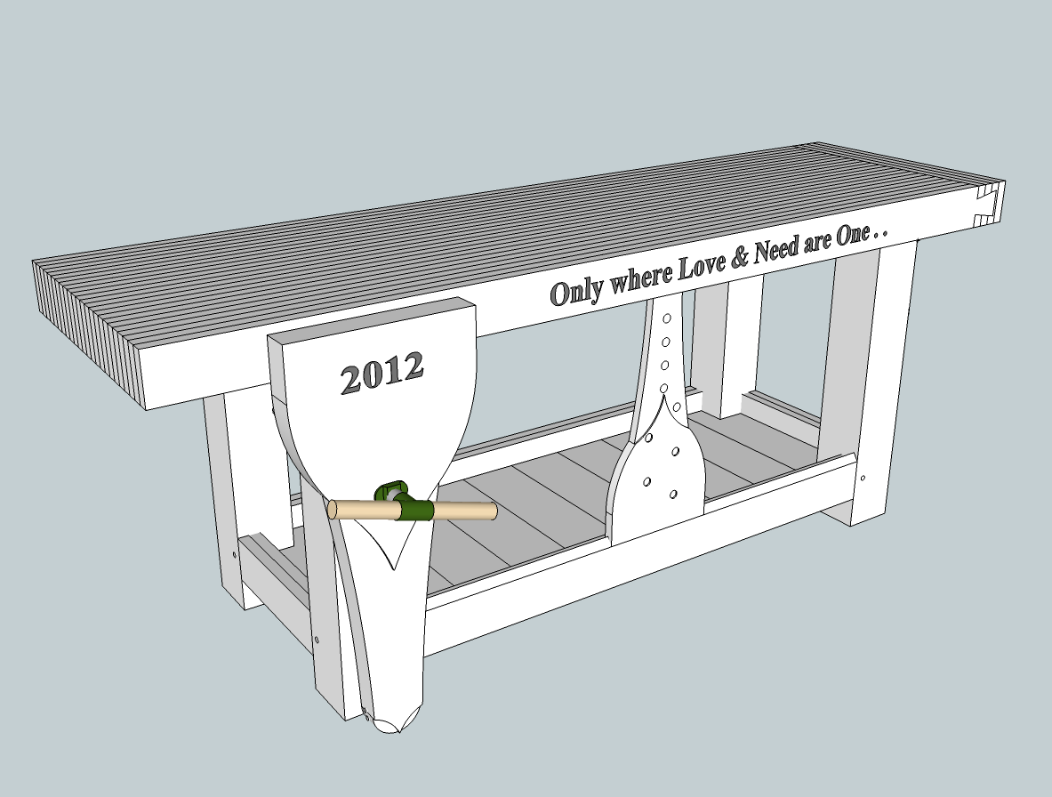My idea in sketchup for how I would build a Roubo out of the available silver maple lumber