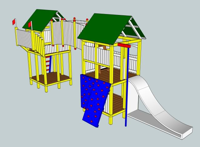 Eighth iteration of the design, showing all of the key elements, without most of the planned fences around the upstairs areas