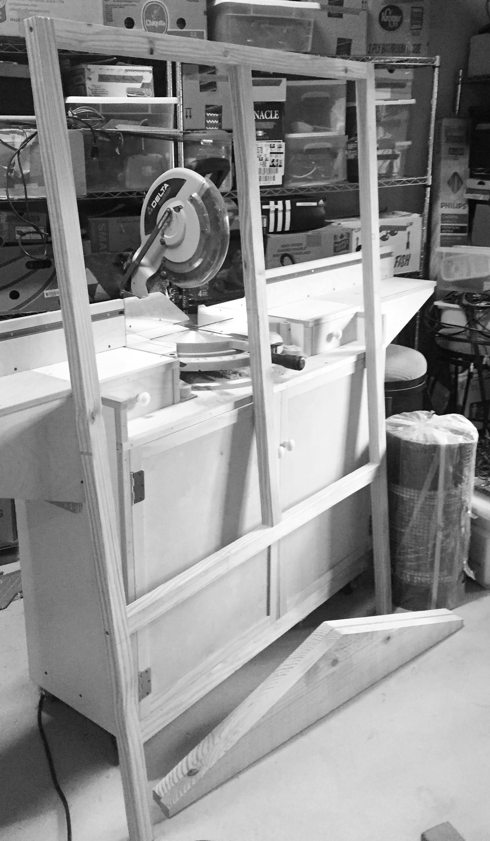 The back wall of the aviary leaning up against the chopsaw station. I was running out of room in the shop on this project.