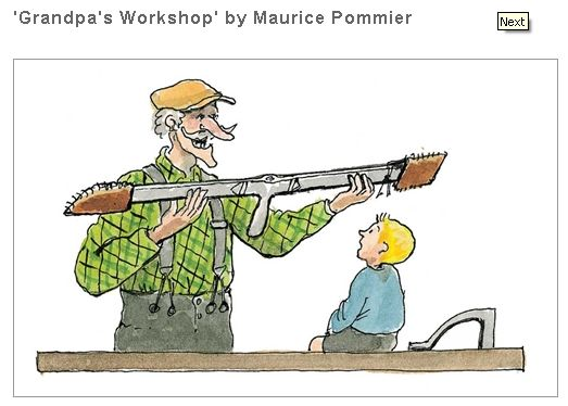 Promotional artwork for Lost Art Press edition of Grandpa's Workshop showing the besaigue in hand