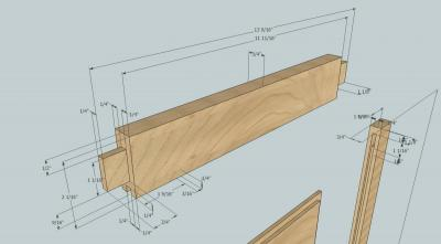 Dimensions for the top rail on the side door (click to embiggen)