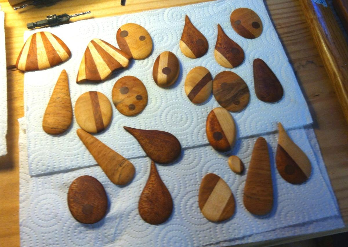 All 22 pendants, sanded and with BLO applied