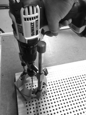 Drilling the holes using the Wolfcraft drill guide