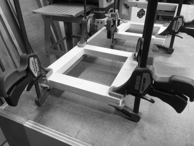 Gluing the small side doors
