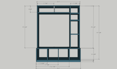 Front dimensions of the mudroom bench. The image files and the Sketchup file are available on the project page.