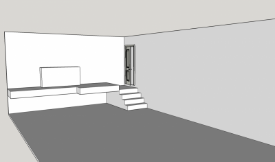 The area in the garage where the bench will go, top of the stairs, to the left of the door, up on the deck.