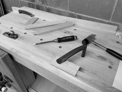 Using the newly finished workbench to build the side doors of the jewelry cabinet