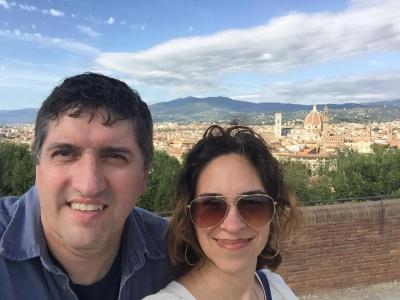 Adriana and I overlooking Florence from Fort Belvedere