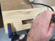Chopping out the corners and cutting to the lines of the mortises