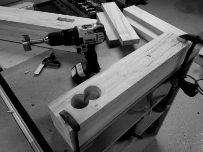 Starting to drill out the waste of the mortise in the endcap