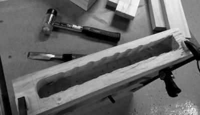 Chiseling out the rest of the mortise in the endcap