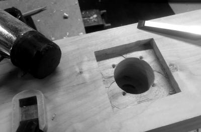 Chiseling out the waste in the leg vice mortise