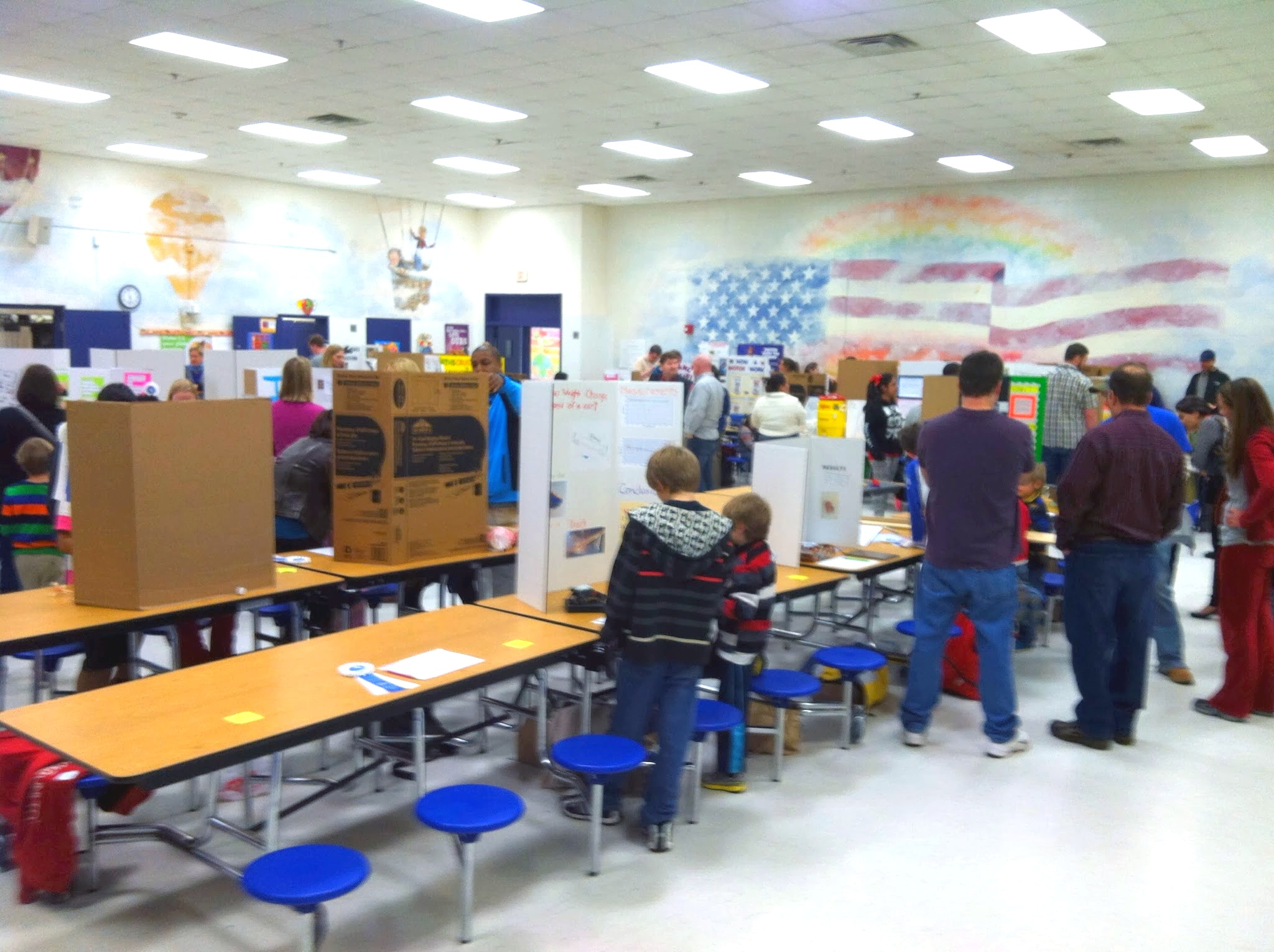 The science expo was in the school cafeteria. It got quite a bit more crowded than this.