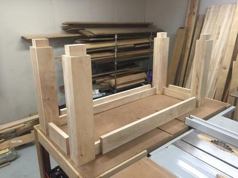 Stretchers glued up and placed for mortise layout