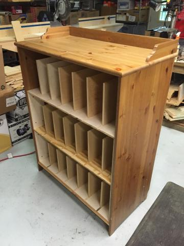 Converted Ikea chest of drawers, turned into a glass storage cabinet