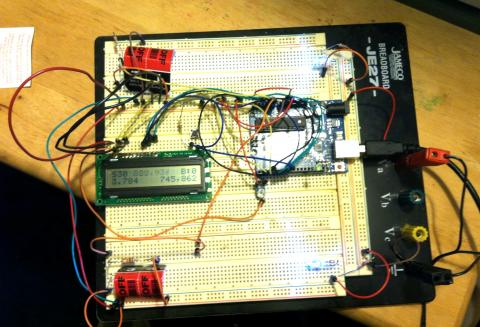 Timer with LCD and two LED/photoresistor pairs to detect start and stop times, with Sketch#30 running