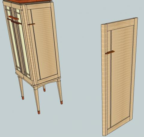 New details of the side door on the jewelry armoire