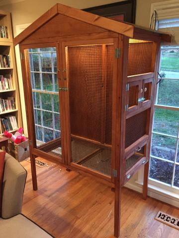 """Finch aviary built out of construction lumber and 1/4"""" sheet plywood"""