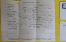 Handwritten geneology notes from M.A. Eyster