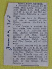 1958 Clipping about Leona Oyster