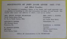 Card about John Jacob Aister