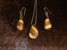 Matched set of wooden earrings and pendant